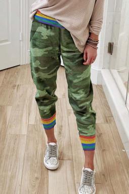彩虹条纹绿色迷彩休闲裤