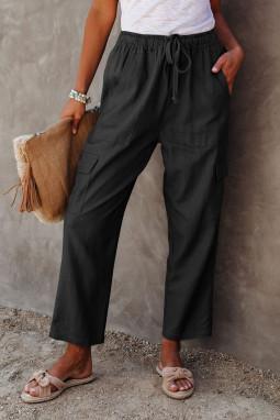 黑色宽松侧边口袋休闲裤