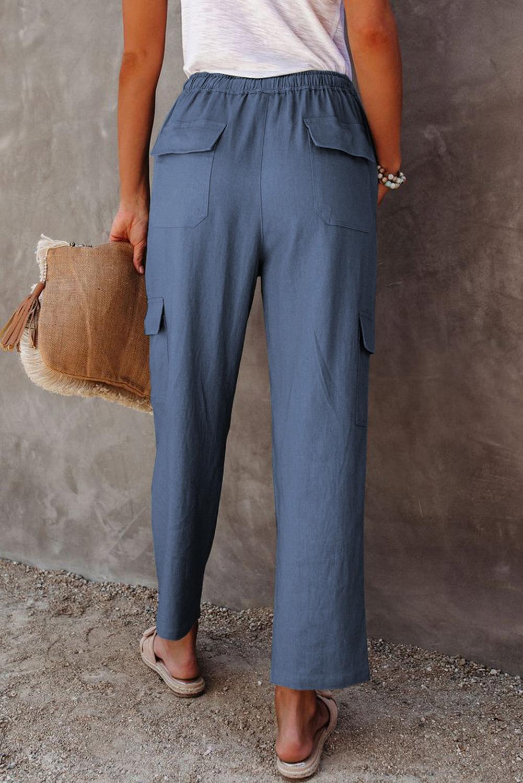 蓝色宽松侧边口袋休闲裤 LC77522