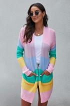 粉色拼色开放式垂坠宽松中长款针织开衫