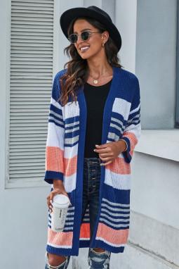 蓝色拼色条纹柔软舒适休闲长袖针织开襟衫 LC271009