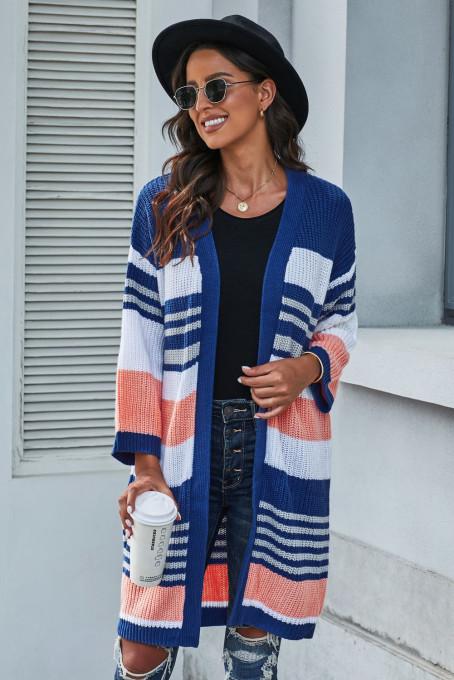 蓝色拼色条纹柔软舒适休闲长袖针织开襟衫