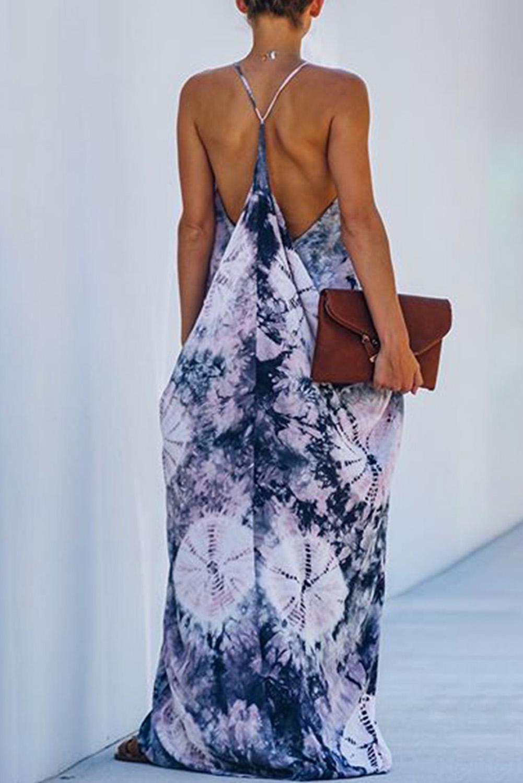 蓝色扎染垂褶吊带长裙 LC611865