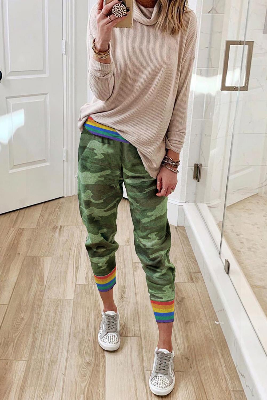 彩虹条纹绿色迷彩休闲裤 LC77523