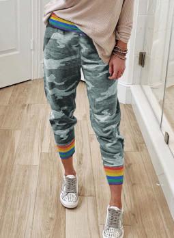 彩虹条纹灰色迷彩休闲裤