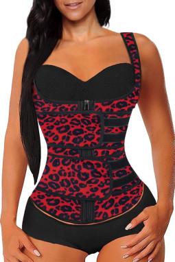 红色豹纹氯丁橡胶塑腰拉链设计背心款塑身衣