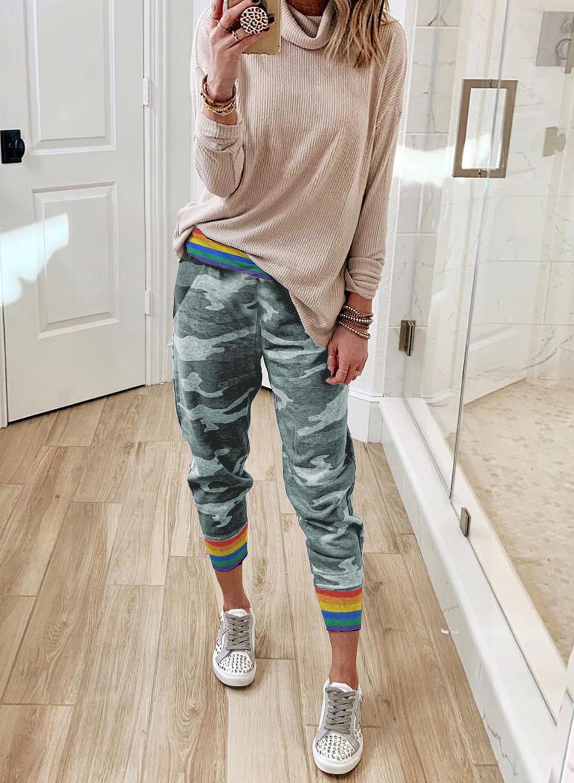 彩虹条纹灰色迷彩休闲裤 LC77523