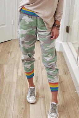 彩虹条纹经典迷彩休闲裤