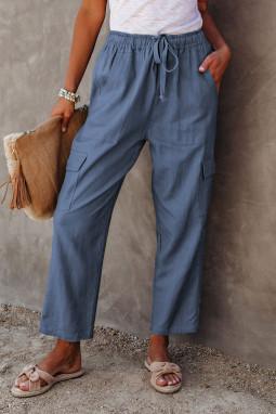 蓝色宽松侧边口袋休闲裤