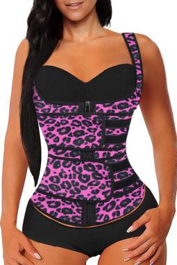 时尚豹纹氯丁橡胶塑腰拉链设计背心款塑身衣