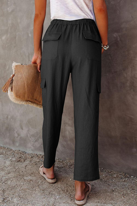 黑色宽松侧边口袋休闲裤 LC77522