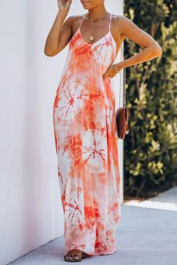 橙色扎染垂褶吊带长裙