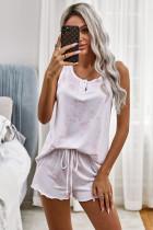 粉色扎染无袖背心短裤休闲家居套装