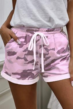 粉色迷彩印花休闲短裤