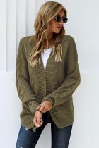 橄榄绿休闲长袖厚实针织开衫