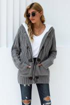 灰色纽扣式针织人造毛绒连帽毛衣开衫