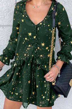 绿色优雅荷叶边V领星星印花长袖休闲短裙