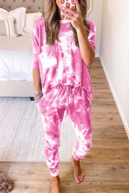 玫粉色时尚扎染宽松长袖家居便服两件套