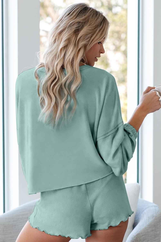 绿色长袖套头衫和短裤休闲家居套装 LC451222