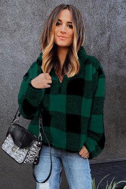绿色格纹半拉链立领长袖保暖套头衫