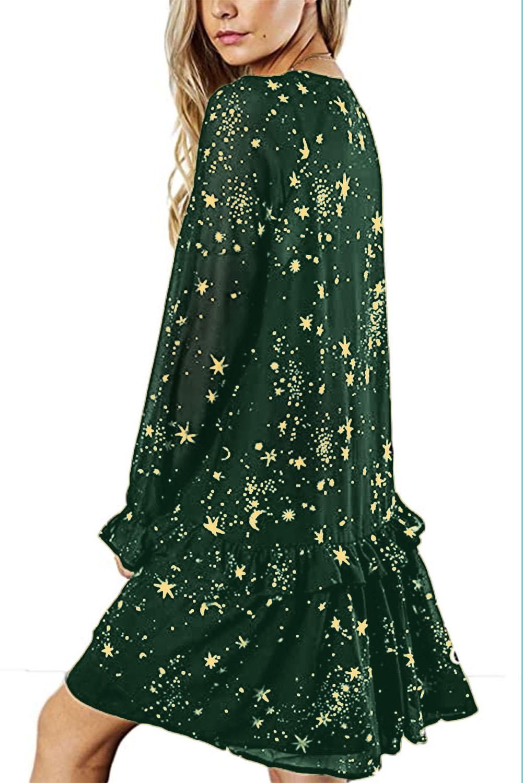 绿色优雅荷叶边V领星星印花长袖休闲短裙 LC221221