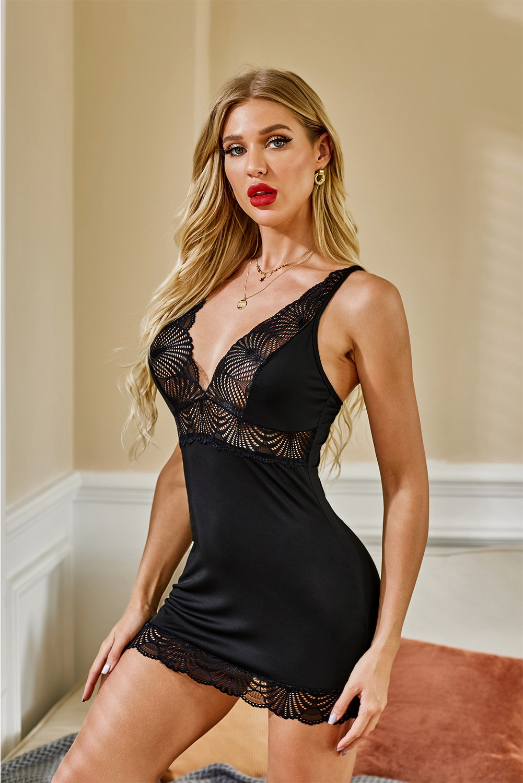 黑色精致蕾丝浪漫情趣连衣短裙 LC31252