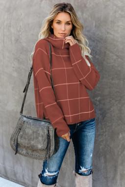 褐色格纹舒适宽松长袖高领毛衣