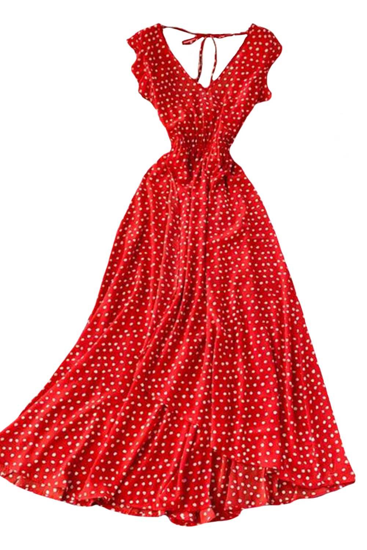红色V领露背荷叶边可爱圆点舒适连衣裙 LC612027