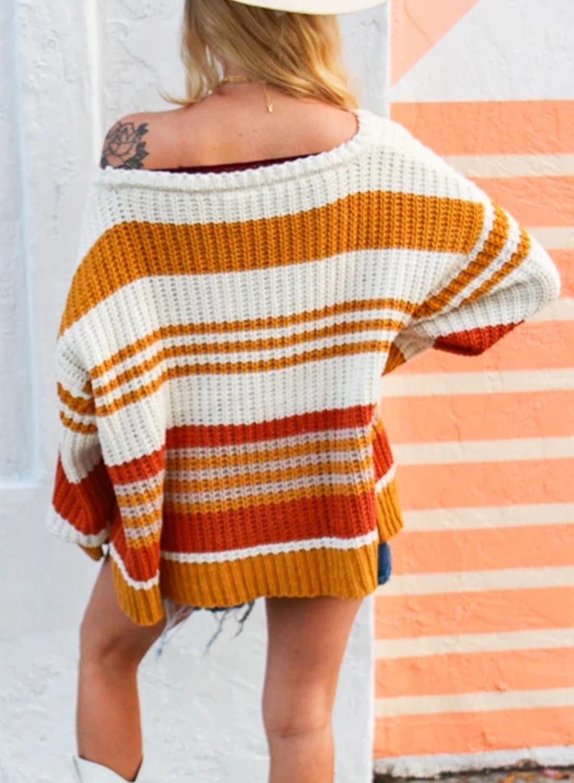 橙色针织撞色条纹舒适宽松长袖套头毛衣 LC272046