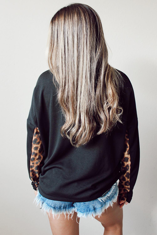 黑色豹纹长袖圆领休闲套头上衣 LC2511436