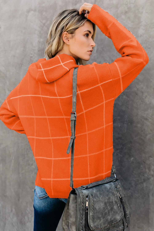 橙色格纹舒适宽松长袖高领毛衣 LC270176