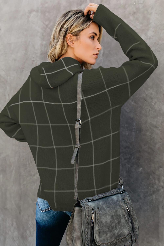 绿色格纹舒适宽松长袖高领毛衣 LC270176
