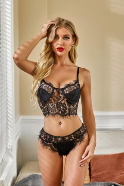黑色可调节吊带性感蕾丝网眼文胸内衣套装