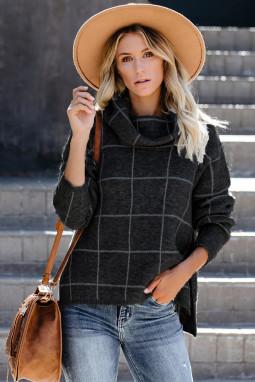 黑色格纹舒适宽松长袖高领毛衣
