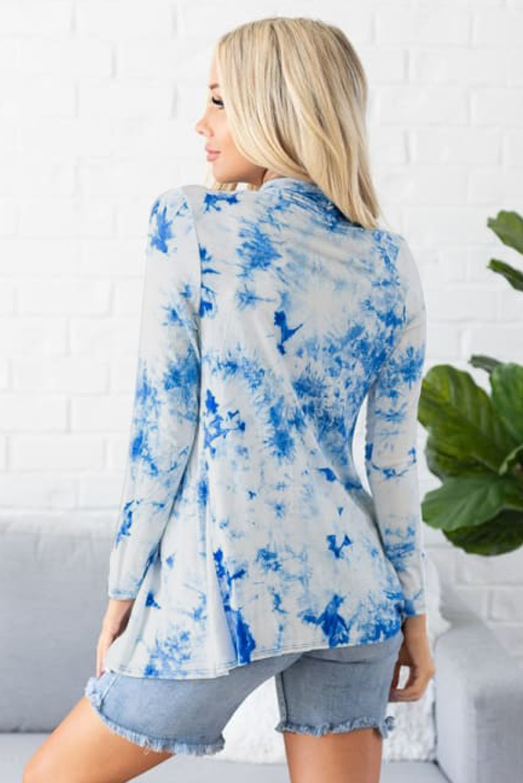 蓝色扎染舒适日常休闲开衫 LC254057