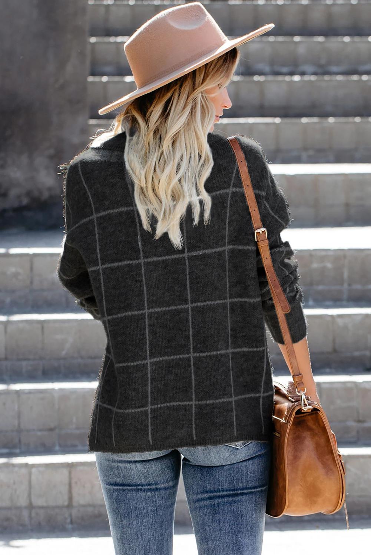 黑色格纹舒适宽松长袖高领毛衣 LC270176