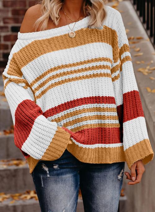 橙色针织撞色条纹舒适宽松长袖套头毛衣