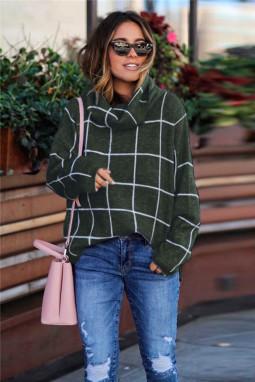 绿色格纹舒适宽松长袖高领毛衣