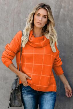 橙色格纹舒适宽松长袖高领毛衣