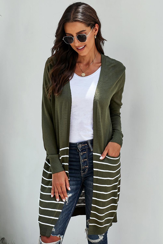 绿色长袖条纹口袋中长款舒适休闲开衫 LC271007