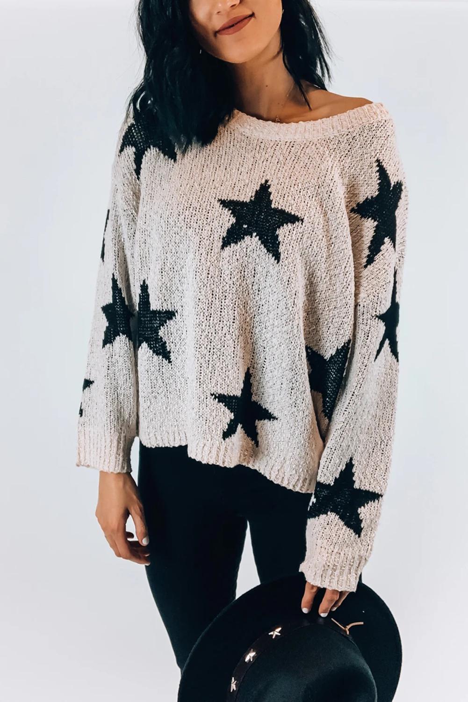 白色圆领长袖星星图案舒适针织毛衣 LC272049
