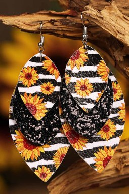 向日葵条纹黑色叶型多层皮革耳环