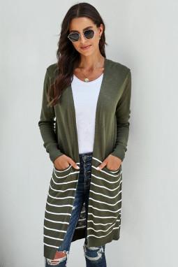 绿色长袖条纹口袋中长款舒适休闲开衫