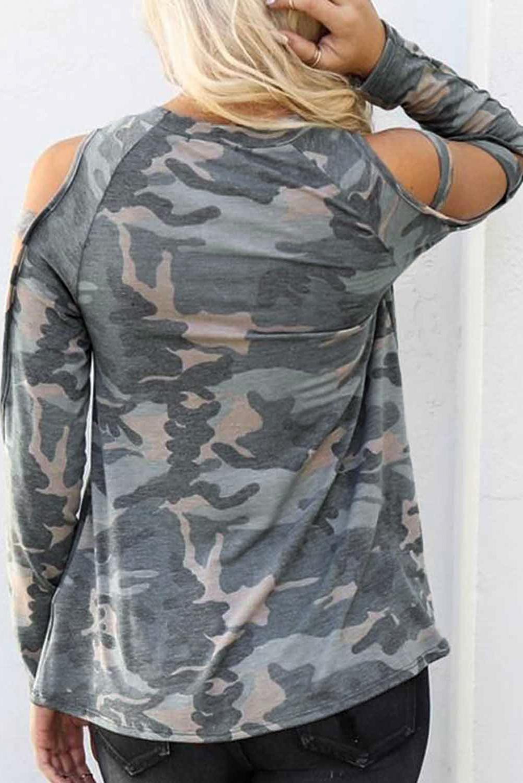 灰色迷彩圆领露肩别致镂空长袖女士上衣 LC2511719