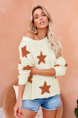米色圆领长袖星星图案舒适针织毛衣