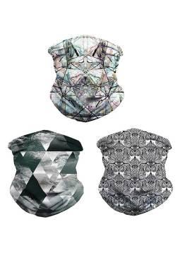 3件组合时尚图案舒适透气多功能户外运动围脖头巾面罩
