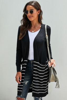 黑色长袖条纹口袋中长款舒适休闲开衫