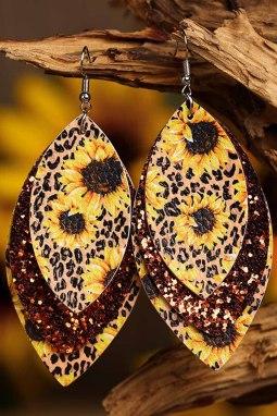 向日葵豹纹闪亮叶型多层皮革耳环