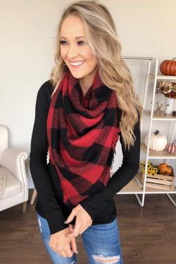 红色格子印花时尚围巾