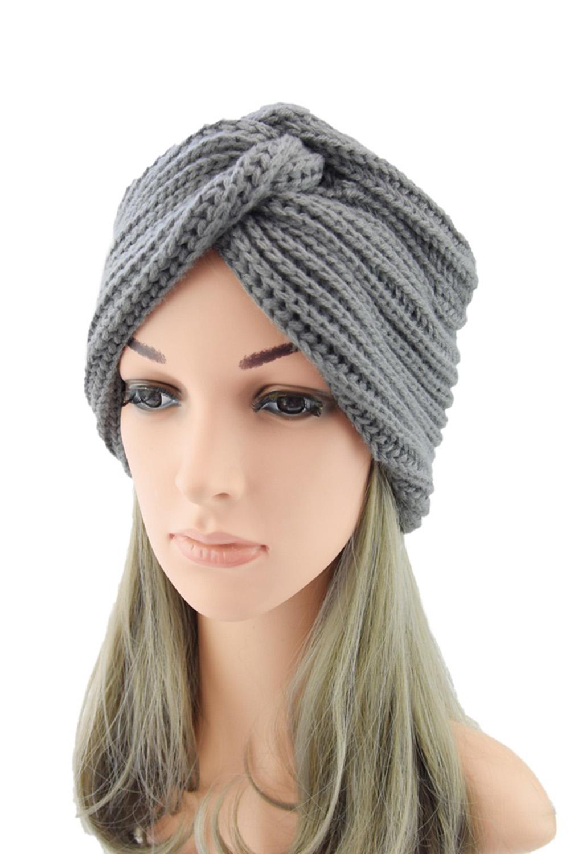 灰色交叉扭裹针织毛线帽 LC02099